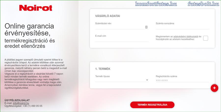 Noirot online garancia regisztráció