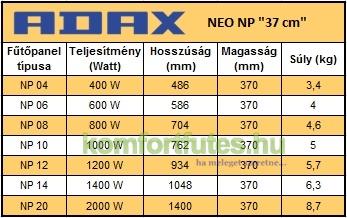 ADAX NEO NP mérettáblázat